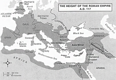 Map of the Roman Empire at 117 AD